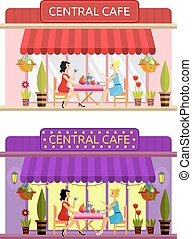 Open cafe building facade. Vector. Flat. - Open cafe...