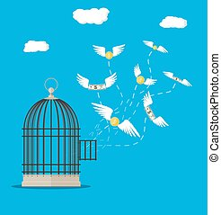 Open cage. Background illustration of a golden bird cage and flowers.