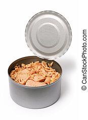 An open tin of pink tuna fish.