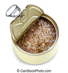 Open Can of Tuna Isolated