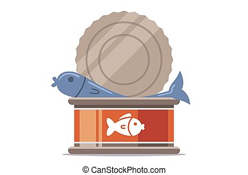 open canned fish on a white background.
