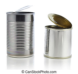cans - open cans on white background