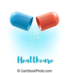 Open capsule pill 3d poster for medicine design - Open...