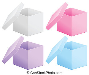 open cardboard box - Paper box set on white background....
