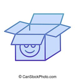 Open cardboard box flat icon. Packaging blue icons in trendy flat style. Open paper box gradient style design, designed for web and app. Eps 10.