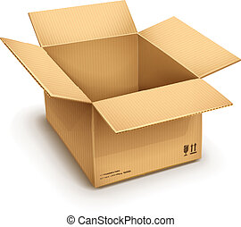 open cardboard box - empty open cardboard box isolated on...