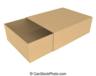 Open cardboard box - isolated on white background