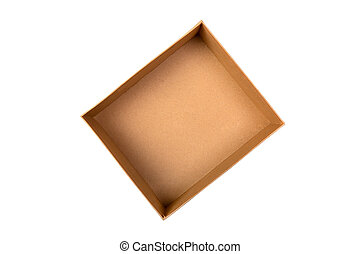 Open Cardboard box isolated on white background. top view