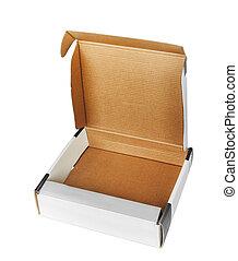 Open cardboard box; isolated