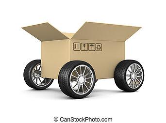 Open Cardboard Box on Wheels on White Background 3D Illustration, Shipment Concept