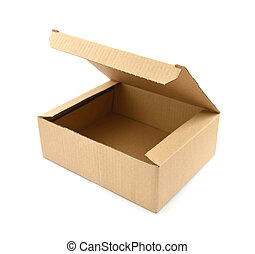 Open Cardboard box on white with clipping path