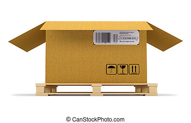 Open cardboard box on wooden pallet