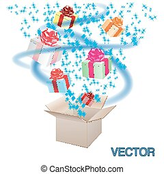 Open cardboard box with an a gifts on white bacckground.Vector