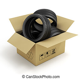 Open Cardboard Box with Tires on white background. Online store of auto parts.
