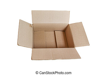 Open cardboard isolated on white background