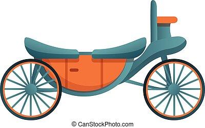 Open carriage icon, cartoon style