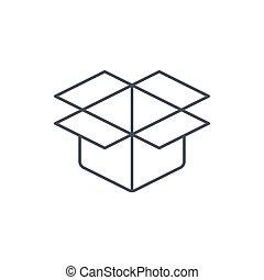 open carton box thin line icon. Linear vector symbol