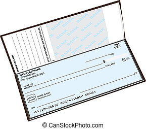 Open checkbook with the previous check. Vector illustration.