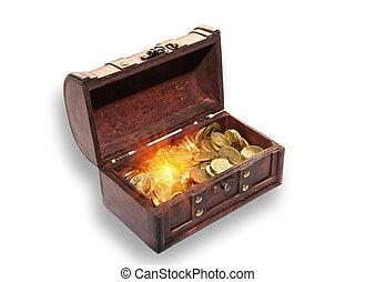 Open chest full of money