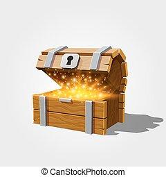 Open chest with gold. - Open chest with gold, on the white...