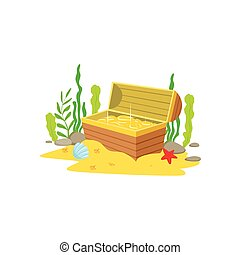 Open Chest With Golden Treasure Inside Laying At The Sandy...
