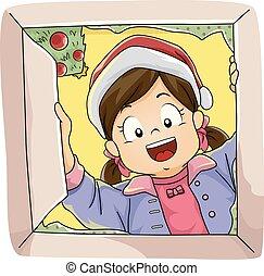 Open Christmas Gift Kid Girl Illustration