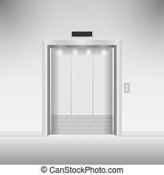 Open chrome metal elevator doors. Vector illustration