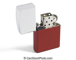 Open cigarette lighter isolated on white