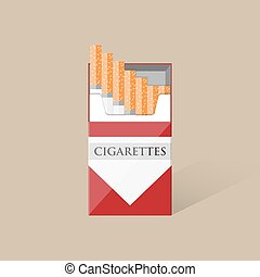 Open cigarettes pack box - Open white red cigarettes pack...