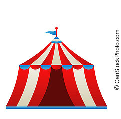 Open circus stripe tent isolated on white background -...