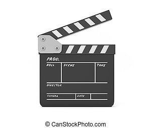 Open clapboard isolated on white background. Film movie ...