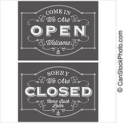 Open Closed Chalkboard - Vintage symbol lettering come in we...