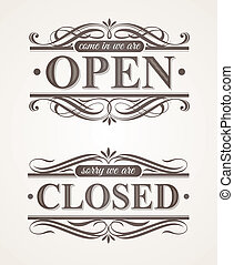 Open |& Closed - ornate retro signs - Open and Closed -...
