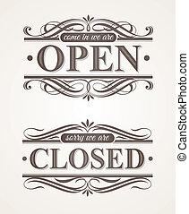 Open |& Closed - ornate retro signs