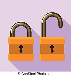 Open closed padlock icon, flat style