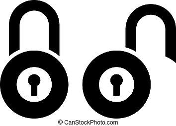 Open closed padlock vector sign