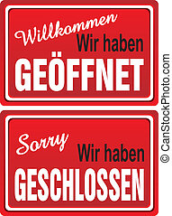 Open - Closed Signs (German)