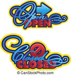 open-closed, sinais