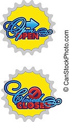 open-closed, tekens & borden