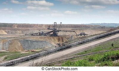 open coal mine with excavator mining industry