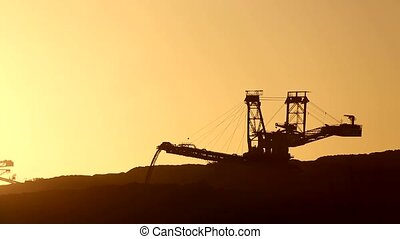 Open Coal Mining - Video footage of a open Coal mining with...