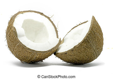 Open coconut isolated on white