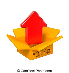 Open Color Cardboard Box and Arrow. For Design. - Open Color...