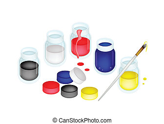 Open Color Paint Jars with Artist Brushes - Five Open Poster...