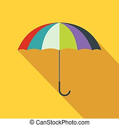 Open colorful umbrella icon, flat style