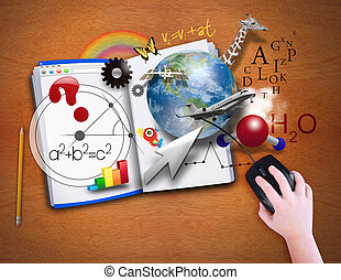 A child is looking at an open book as a computer with math, science and animals coming out for a school or e learning concept.