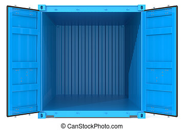 Open Container. - Blue Cargo Container. Open Doors. Front...