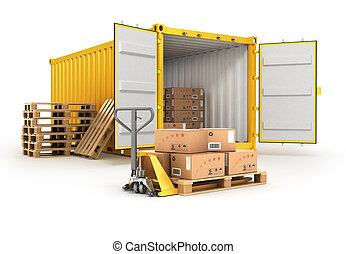 open container pallets with boxes and hand truck isolated on white