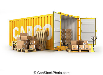 open container pallets with boxes and hand truck isolated ower white