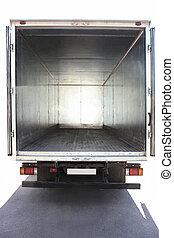 open, container, van, de, vrachtwagen